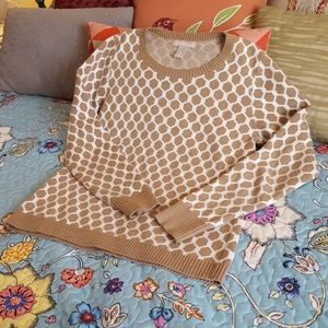 Cozy Banana Republic Tan White Honeycomb Sweater